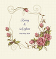 wedding card with roses vector image vector image