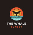 wild whale and sea wave logo design vector image vector image