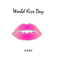 world kiss day 6 july watercolor pink lips vector image