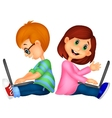 Cartoon Happy boy and girl operating laptop vector image
