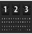 Flip black scoreboard letters numbers and symbols vector image