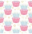 Hand drawn birthday cake seamless pattern vector image