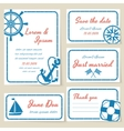 Nautical style wedding invitation and cards vector image