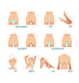 area hair removal icons set marked epilation vector image vector image