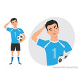 asian football player is pensive thinking vector image