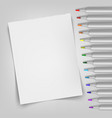 blank sheet with markers template for your vector image vector image