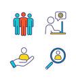 business management color icons set vector image