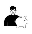 businessman with piggy bank vector image vector image