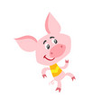 cartoon pig character dancing isolated on white vector image vector image