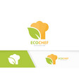 chef hat and leaf logo combination kitchen vector image vector image
