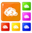 cloud icons set color vector image vector image