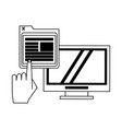 computer and website symbols in black and white vector image vector image