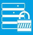 database with padlock icon white vector image vector image