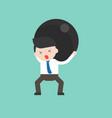 depressed businessman or manager lift big hard vector image