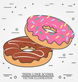 Donuts thin line icon Donuts isolated dark grey vector image