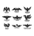 eagle or falcon black silhouettes for branding vector image vector image