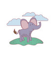 elephant cartoon in outdoor scene with clouds on vector image