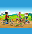 family going biking together vector image vector image