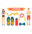 fitness sport people icons set vector image vector image
