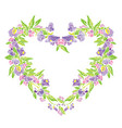 floral frame in heart shape with flowers isolated vector image vector image
