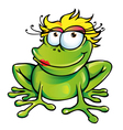 girl happy frog vector image vector image