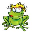girl happy frog vector image vector image