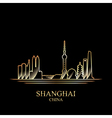 Gold silhouette of Shanghai on black background vector image vector image