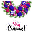 greeting card wreath merry christmas vector image vector image