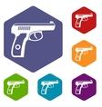 Gun icons set vector image vector image