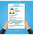 Hand holding resume vector image vector image