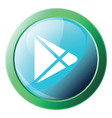 icon a blue googleplay button with round green vector image vector image