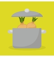 kitchen pot with vegetable food vector image vector image