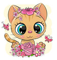 kitten with flowers on a yellow background vector image