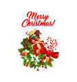 merry christmas decoration icon vector image