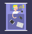 new technologies addiction young blonde boy vector image