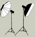 photographic flash studio lighting silhouette vector image vector image