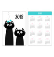 pocket calendar 2018 year week starts sunday two vector image vector image