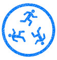 running men rounded grainy icon vector image vector image