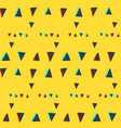 seamless pattern with glitch triangles on yellow vector image vector image