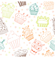 Seamless pattern with hand drawn cupcakes vector image vector image