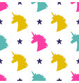 seamless pattern with magical unicorn head vector image vector image