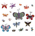 set of butterflies of different styles vector image vector image