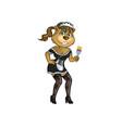 sexy maid beaver cartoon mascot vector image vector image