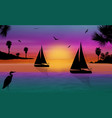 silhouette of a sailingboats at the sea vector image