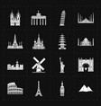 sixteen flat landmark icons vector image