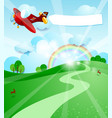 sunrise with airplane and banner vector image vector image