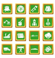 timber industry icons set green square vector image vector image