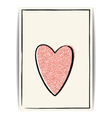 Valentine template with pink glitter heart and vector image vector image