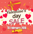 valentines day sale 14 february 2018 pink backgrou vector image vector image