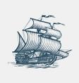 vintage sailing ship seafaring sailer concept vector image vector image